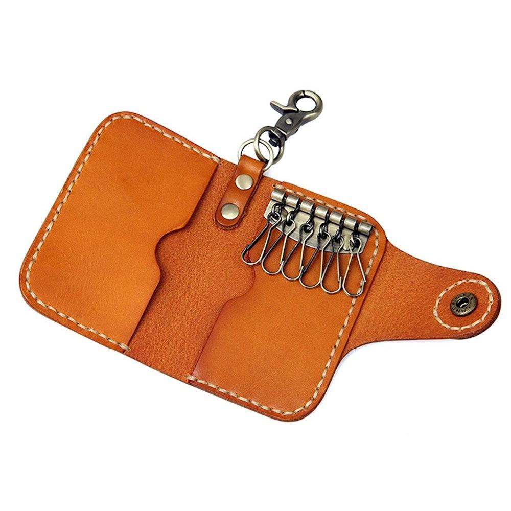 Чистый винтажный кожаный брелок для ключей кошелек коричневый черный чехол из натуральной кожи для автомобильных ключей