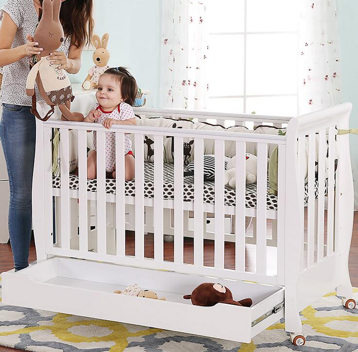 Solid Wood Style Wooden Baby Cot