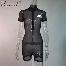 Simenual, прозрачные сетчатые велосипедные комбинезоны, светоотражающие комбинезоны с буквенным принтом, женский спортивный комбинезон на мол...(Китай)