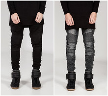 European and american style skinny jeans men distrressed mens slim fit jeans hip hop men pencil pants
