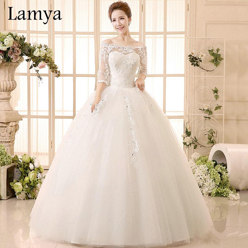 Princess Beatiful Lace Wedding Dress With Sleeve 2016