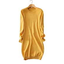 100 wool picture yellow Women s dress knitted dresses long sleeve standard thick warm font b