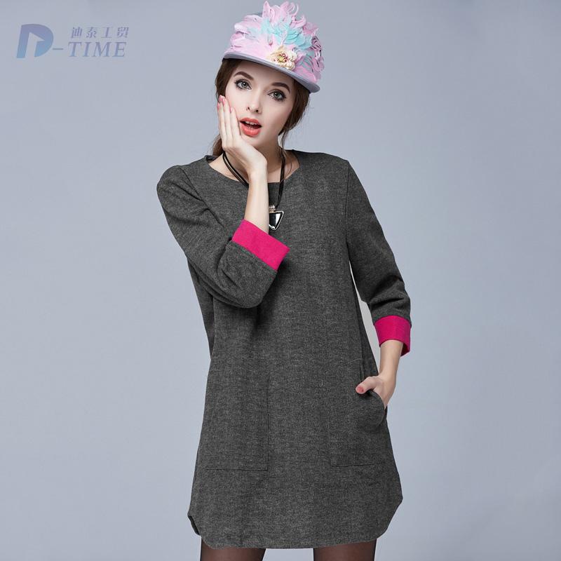 On sale 2015 design Plus size fashion women woolen dresses gray 5XL three quarters sleeves women