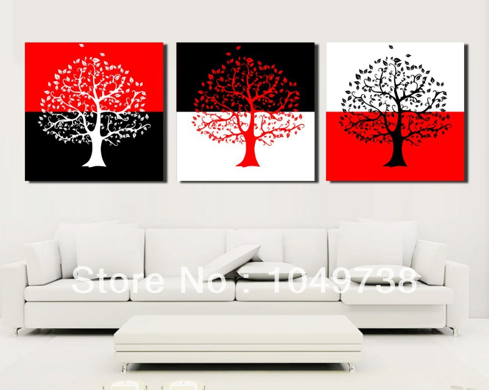 Free Shipping 3 Piece Canvas Wall Art Black And Red Wall