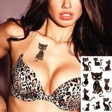 Cute Black Cats  Flash Tattoo Sticker 17*10cm Waterproof Henna Summer Style Tatoo Temporary Body Art FREE SHIPPING