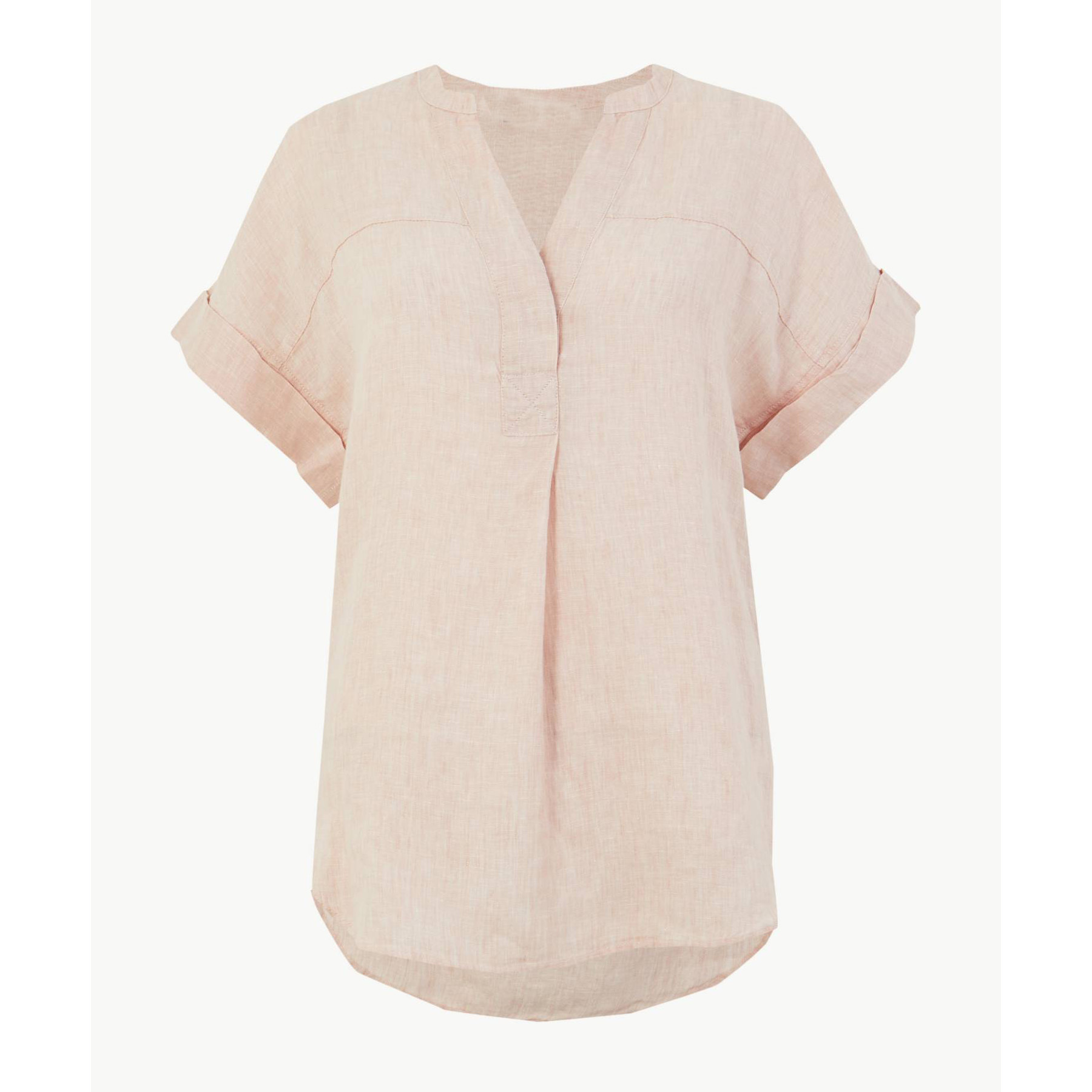 Custom high quality plus size ladies orange red short sleeve pure linen shirt blouses
