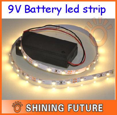 100cm non waterproof 3528 smd 9v battery powered led strip. Black Bedroom Furniture Sets. Home Design Ideas