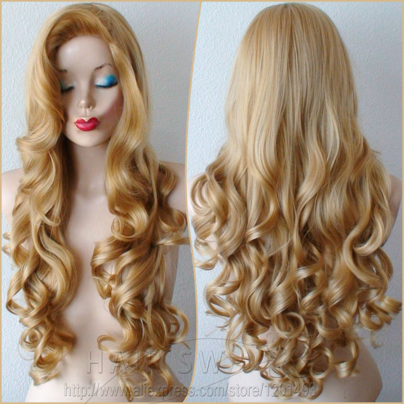 Big Curled Long Hair Golden blonde Long curly