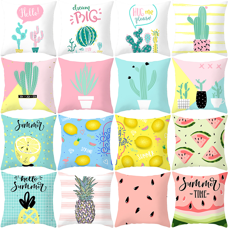 Cartoon cushion cover custom decorative print pattern indoor decorative pillow case