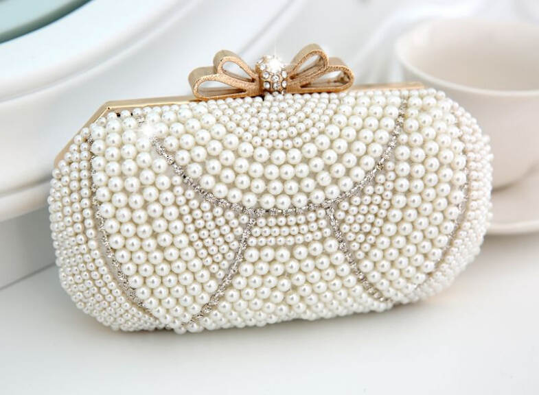 New listing high grade women pearl evening bags knuckle crystal rings  clutch bags wedding party hadbags chain 3 colors f03977-5