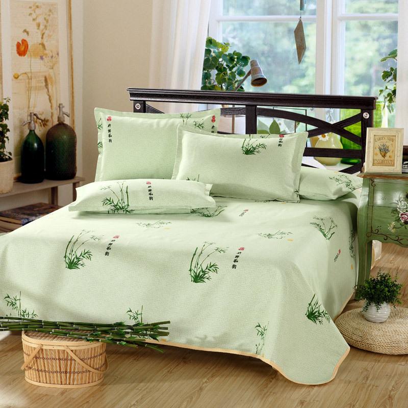 style chinois bambou impression draps de coton 1 pc drap de lit 2 pc taie d 39 oreiller tapis de. Black Bedroom Furniture Sets. Home Design Ideas