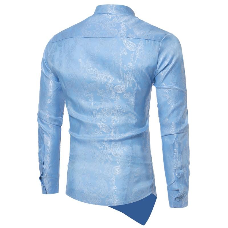 Мужская приталенная рубашка YAMARKET5 цветов, модная рубашка с цветочным принтом, топ нестандартного дизайна, топы с длинными рукавами
