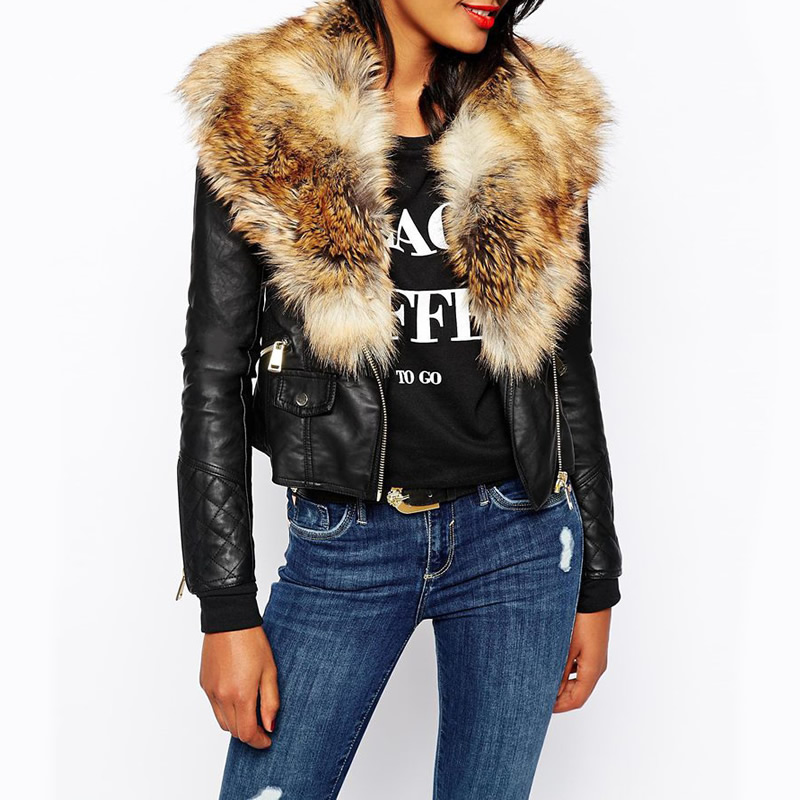 look out for big collection beautiful style Women Autumn Winter Black PU Leather Jacket Grass Fake Raccoon Fur Collar  Woman Short Leather Coat Cool Abrigos De Marca Mujer Bomber Leather Jacket  ...