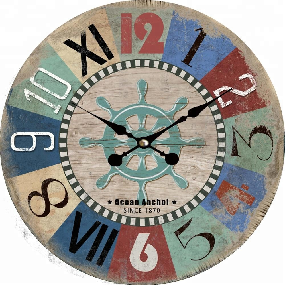 Vintage Creative Unique Colorful Mdf Wall Clock With Ocean Anchor Since  12 Design For Interior Decor   Buy Fancy Decorative Wall Clocks,Mdf Shape  ...
