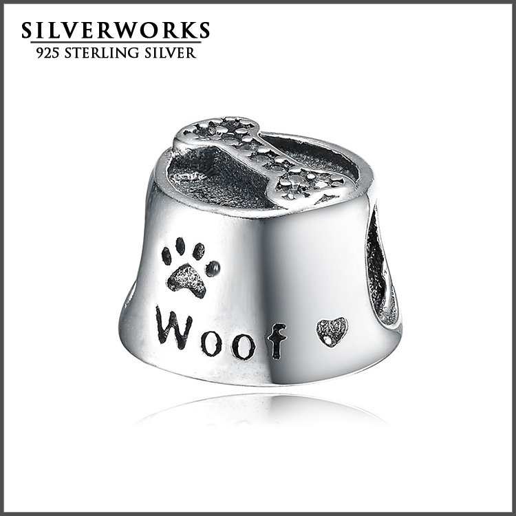 Sterling Silver 925 Dog Bowl Charm