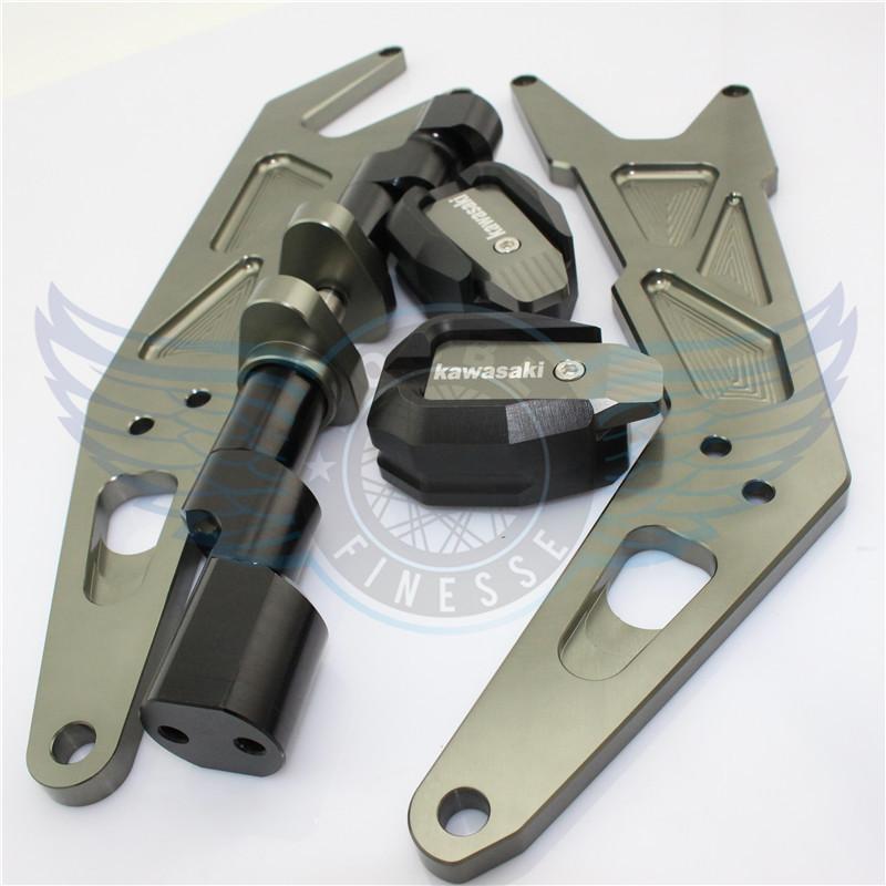 Мотоцикл CNC алюминий двигатель крышка рама ползунки крушение протектор titaniumcolor для kawasaki ниндзя 250EX300 13 - 15