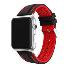 Спортивный силиконовый ремешок для Apple Watch 4 Band Series 4 1 2 3, мягкий цветной комбинированный ремешок в полоску для iWatch Sports Edition(Китай)