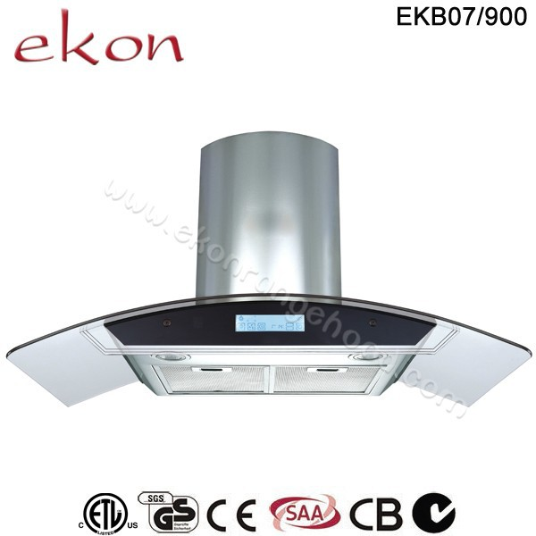 hot sale 900mm round tempered glass energy saving commercial inox wall mounted kitchen range hoods grease extractor