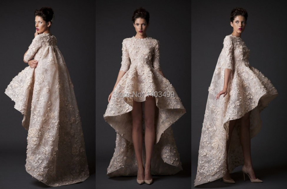 Turtle Neck Wedding Gowns: High Low Wedding Dresses Gown Turtleneck Half Sleeve Lace