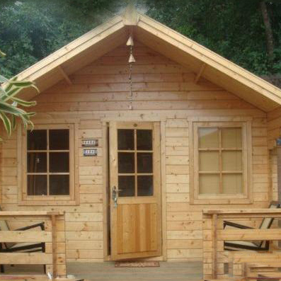 Cheap Log Cabin Prefabricated Wooden House with 1 room and a balcony total 12sqm