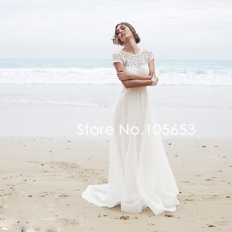 Short Sleeve Simple Wedding Dress: Short Sleeves Long Lace Beach Wedding Dress Simple Boho
