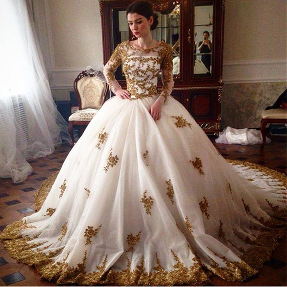Gold Gowns Wedding: Aliexpress.com : Buy Gothic Vintage White Gold Lace