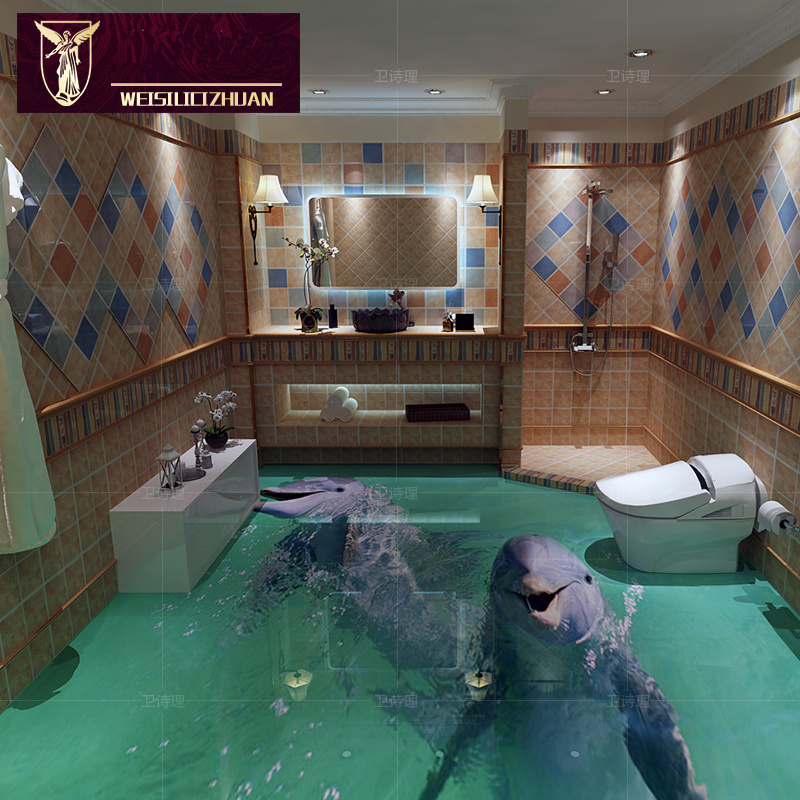 Dolphin Bathroom Tiles: Export Cute Dolphin 3D Floor Tiles 3D Ceramic Tile