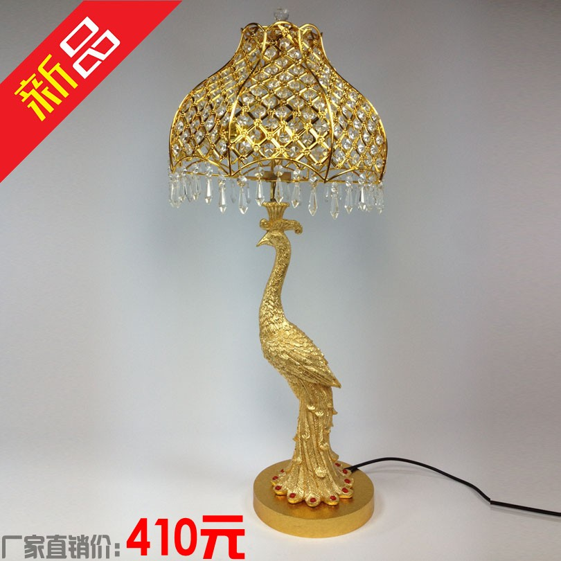 Hanging Table Lamp: Luxury-fashion-crystal-peacock-table-lamp-hanging-bead