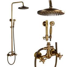 Смеситель для душа Rozin, латунный, античный, настенный, с двойной ручкой + полка, латунный, для ванной комнаты(Китай)