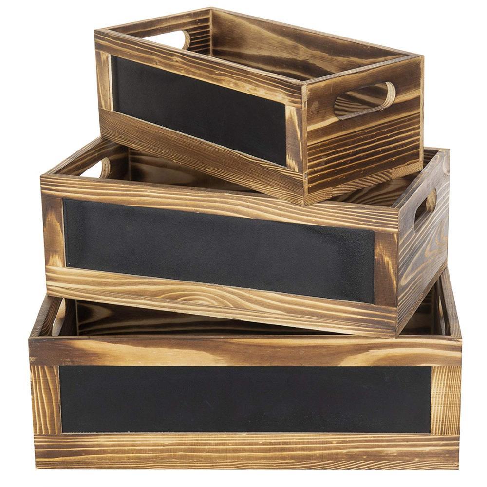 Деревенские сгоревшие доски с передними панелями деревянные ящики для хранения