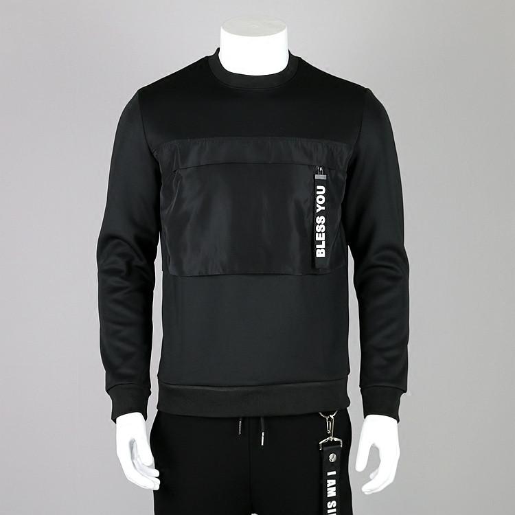 Оптовая продажа, мужские Черные Французские махровые хлопковые однотонные свитшоты с круглым вырезом и карманами без капюшона