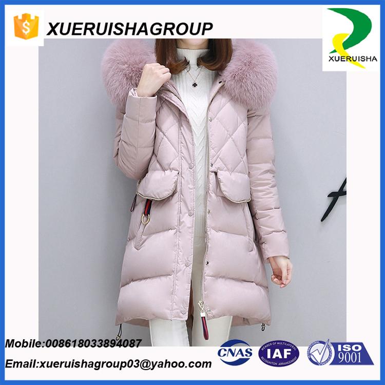 waterproof european style womens long section down jacket