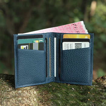 Newest top grain leather best slim bifold wallet unisex front pocket wallet