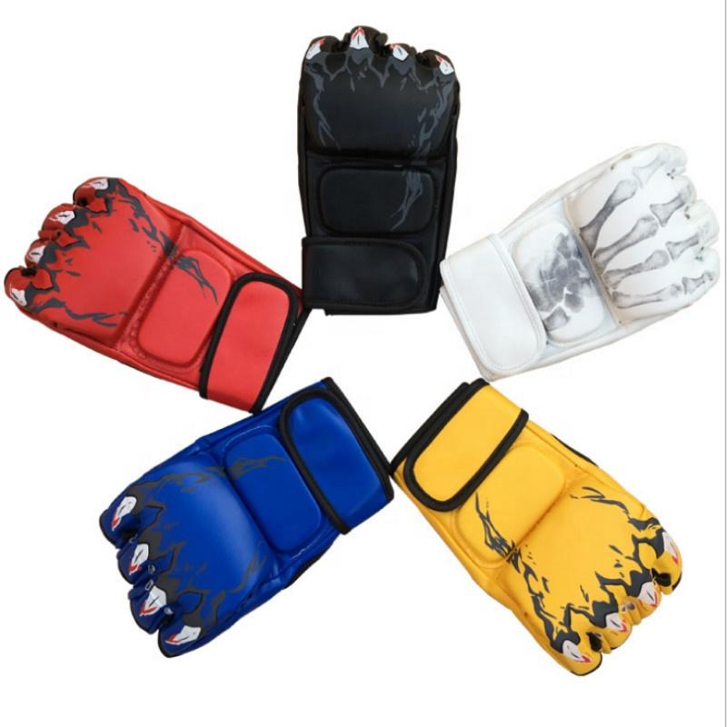 New Adult Sanda Fight Half Finger High Quality PU Taekwondo Points Finger Boxing Gloves <span style=