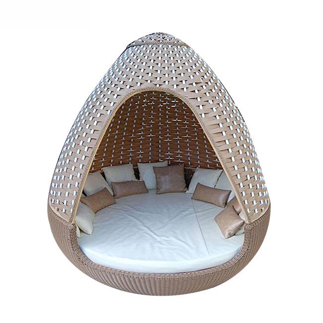 Nestrest Durable Outdoor Garden Pool Round Sofa Bed Patio Woven Rattan Beds