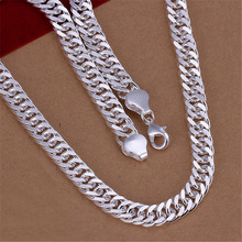 New listing Mens 10MM full sideways  silver plated  Necklace Fashion Jewelry Men dress wild New Year