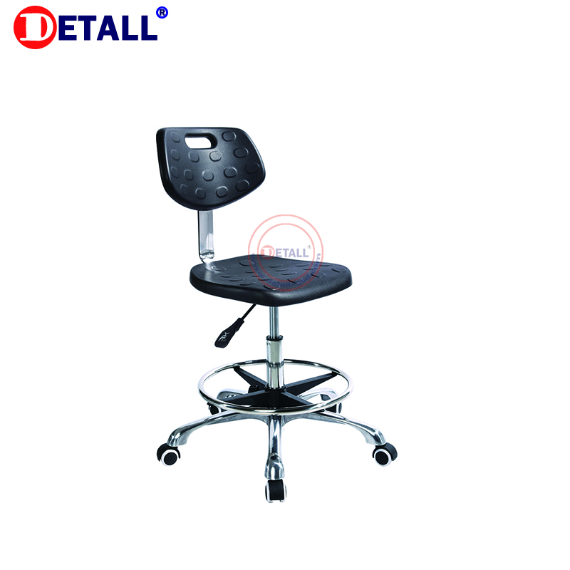 Detall ESD PU foam lab stool chair with wheel and footring for clean room