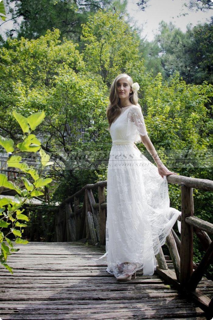 Ivory Bohemian Wedding. Vestido De Noiva Praia Renda Vinatge Lace Wedding  Dresses f6e56851962b
