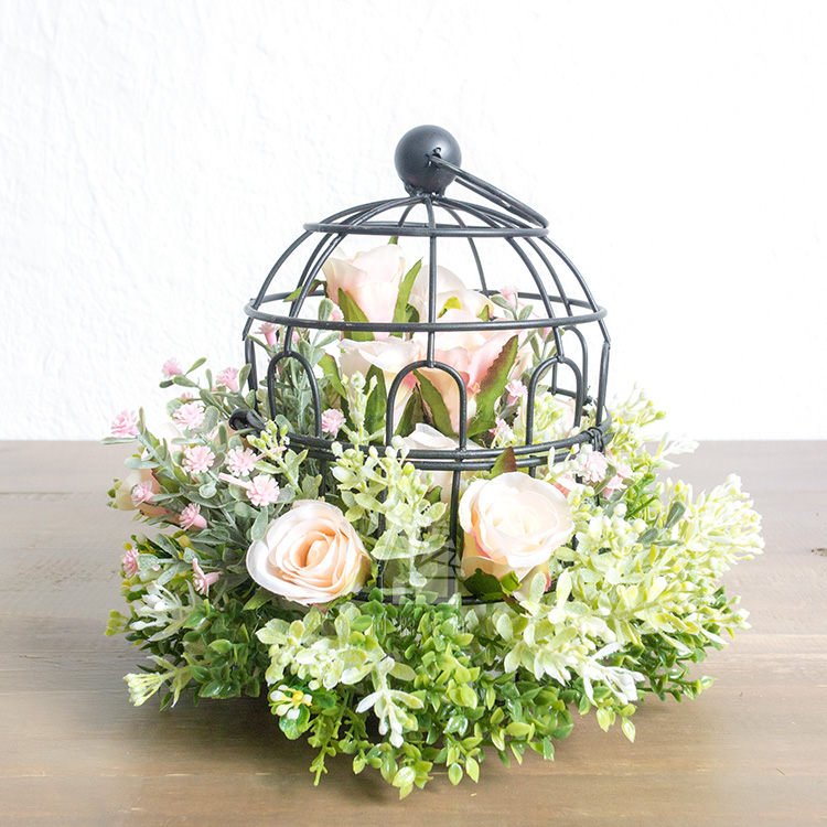 Pink rose decoration bird cage decoration western style outdoor wedding flower props home gift