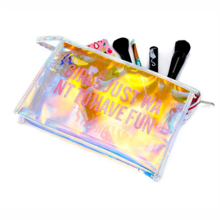 Laser bag Custom Design Waterproof Girls Cosmetic Hologram Pouch Holographic Cosmetic Makeup Toiletry Bag