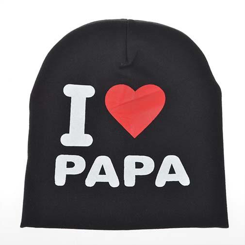 2015 moda outono de malha de algodão quente Beanie da criança do bebê crianças menina menino eu amo Papa Mama impressão criança chapéus