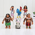 6pcs set 7 10 5cm Moana Princess Maui Waialik Heihei Action Figures Toy Action Figure Collection
