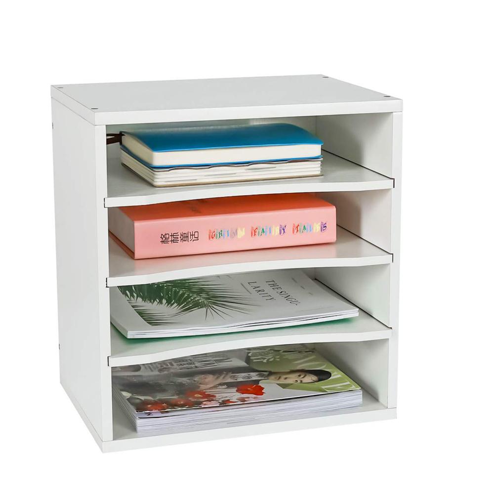 Высококачественный Настольный держатель для файлов, офисные принадлежности, деревянный Настольный органайзер, черный 4 горизонтальных деревянных стойки