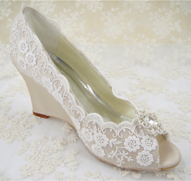 Champagne Lace Wedding Shoes Wedge Heel