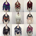 Hot selling factory direct acrylic cotton tassel triangle plaid scarf for lady girl