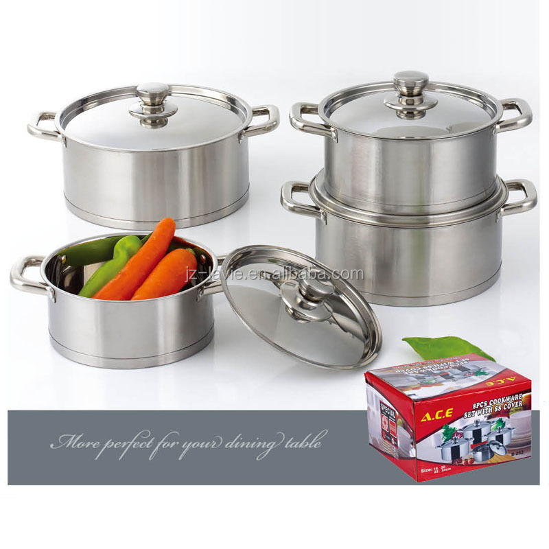 New High Quality Kitchen Wares Cooking Pot Set 8pcs Stainless Steel Nonstick Cookware Sets Buy Kitchen Gift Sets 8pcs Soup Cookware Set Kitchen Gift Sets Casserole Set Product On Alibaba Com