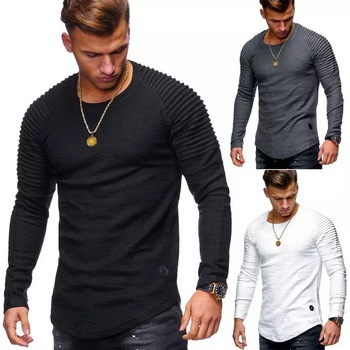 Fashion pure color long sleeve t-shirt men clothes