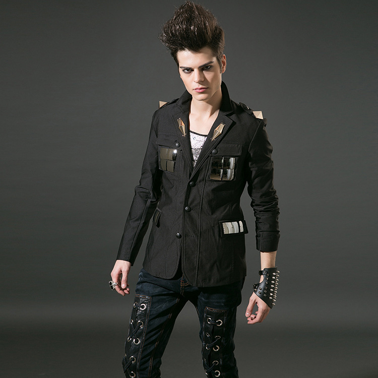 Men's Jacket Korean male singers rivets suit Slim suits W ...
