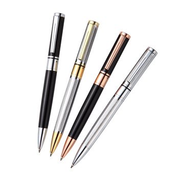 Silver twist action blue ink cartridge brass barrel Etched bottom barrel creates sophisticated presentation ballpoint pen