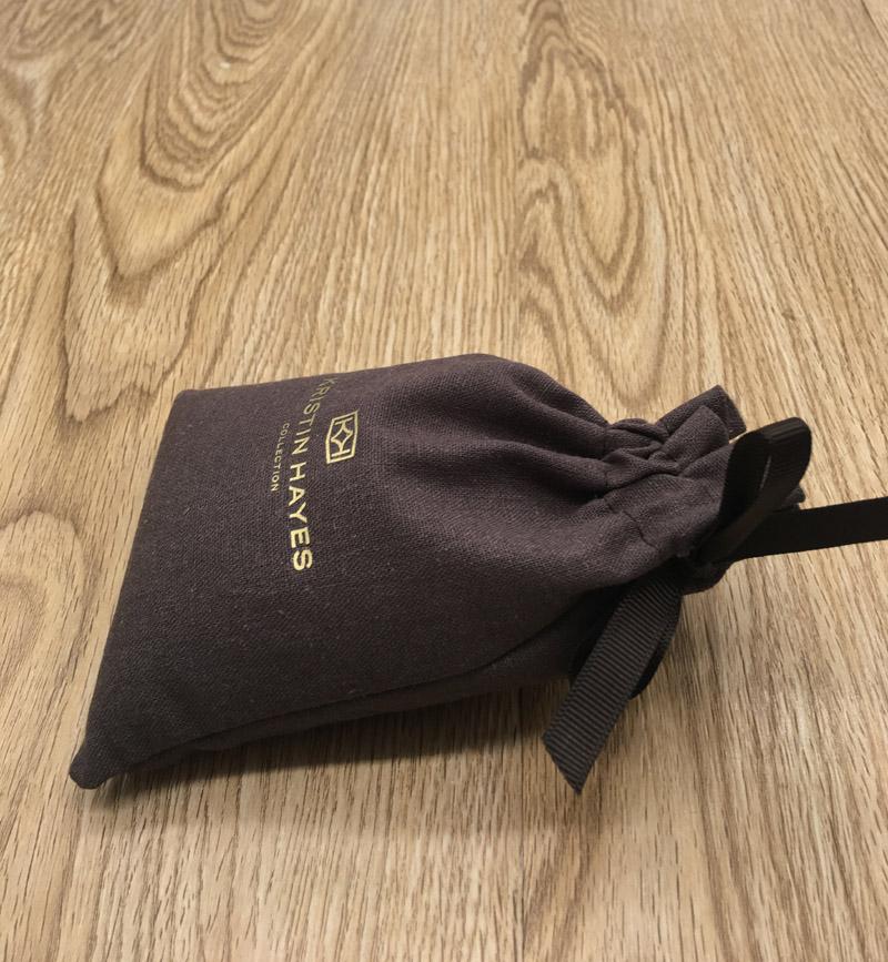 Шоколадно-коричневый хлопковый льняной мешок на шнурке с золотым принтом